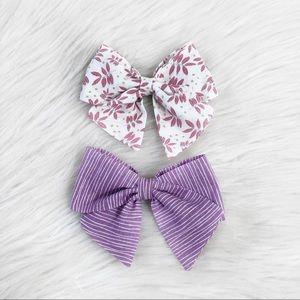 Floral hair bow set
